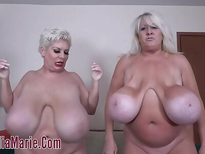 Kayla Kleevage VS Claudia Marie In A Saggy Knocker Contest