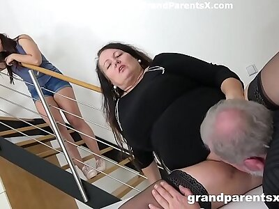 Grandpa fucks his fat wife with an increment of stepdaughter